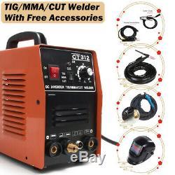 125A TIG Agron Gas Welder 30A Plasma Cutter MMA Stick Machine w Welding Helmet