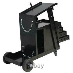 4 Drawer Welding Steel Welder Cart MIG TIG Plasma Cutter Tank Storage Cabinet US
