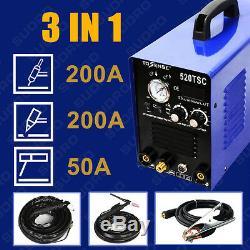 50A Plasma cutter 200A tig/mma welder 3in1 welding machine & accessories for DIY