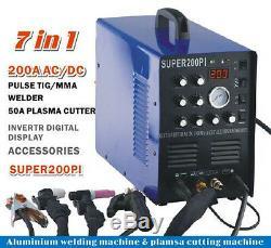 50A plasma cutter IGBT 200A AC/DC PULSE TIG/MMA ALUMINIUM WELDER & 7in1 welding