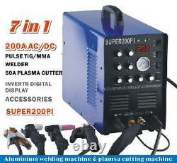 7 in 1 Plasma Cutter IGBT 200A AC/DC PULSE TIG/MMA ALUMINIUM Welder IN US STOCK