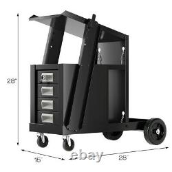 Costway 4 Drawer Cabinet Welding Welder Cart Plasma Cutter Tank Storage Mig Tig