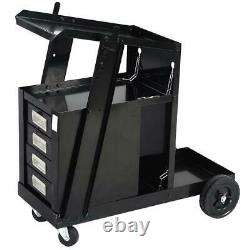 Durable Welding Cart with4 Drawer Cabinet MIG TIG ARC Plasma Cutter Tank Storage
