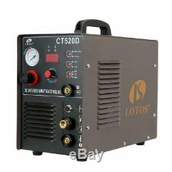 Lotos Ct520D 50 Amp Air Plasma Cutter, 200 Amp Tig And Stick/Mma/Arc Welder 3 In