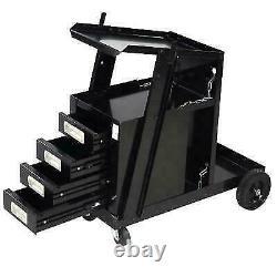 NEW Welding Cart with4 Drawer Cabinet MIG TIG ARC Plasma Cutter Tank Storage Black