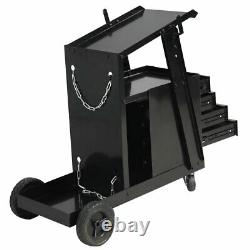 Welding Cart with4 Drawer Cabinet MIG TIG ARC Plasma Cutter Tank Storage Black