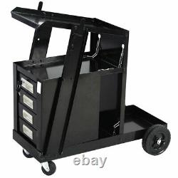 Welding Welder Cart MIG TIG ARC Plasma Cutter Tank Storage With 4 Drawer Cabinet