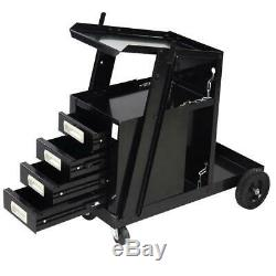 Welding Welder Cart MIG TIG ARC Plasma Cutter Tank Storage With 4 Drawer Cabinet
